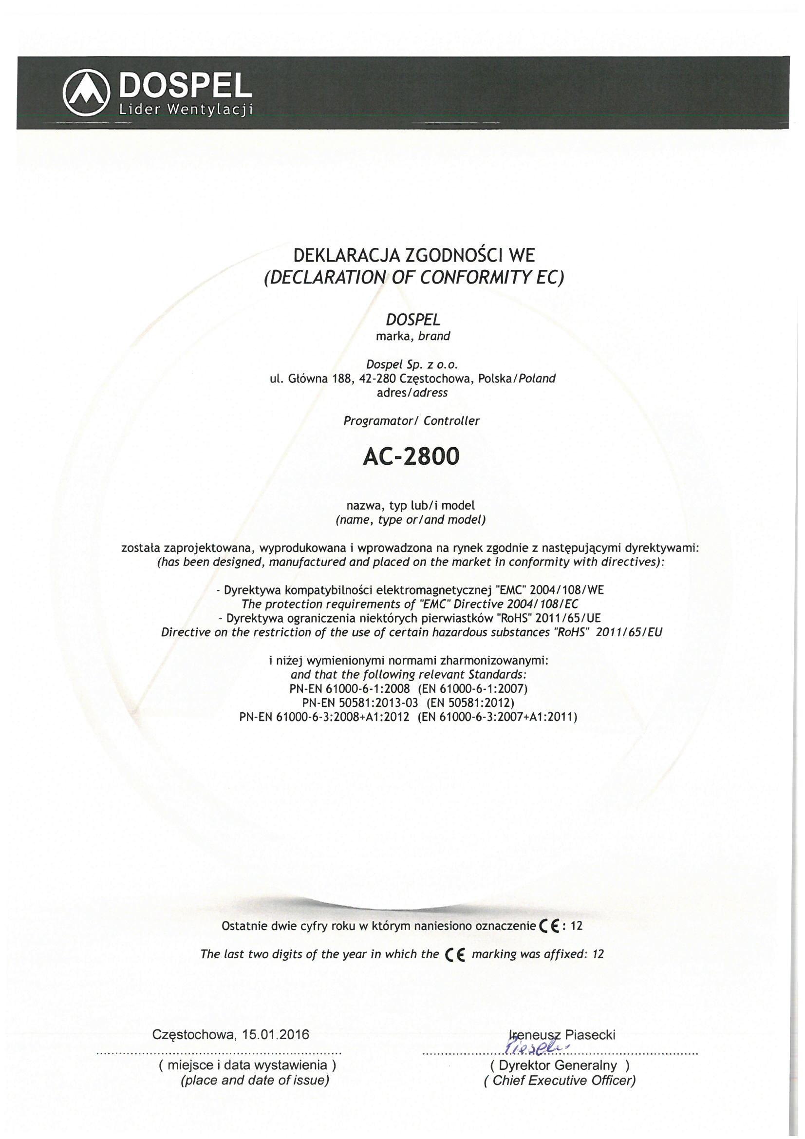 Wentylacja, C2800, certyfikat, deklaracja zgodności