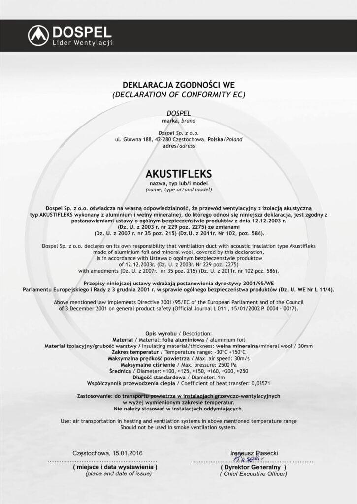 Akustifleks, certyfikat, deklaracja zgodności, producent wentylacji