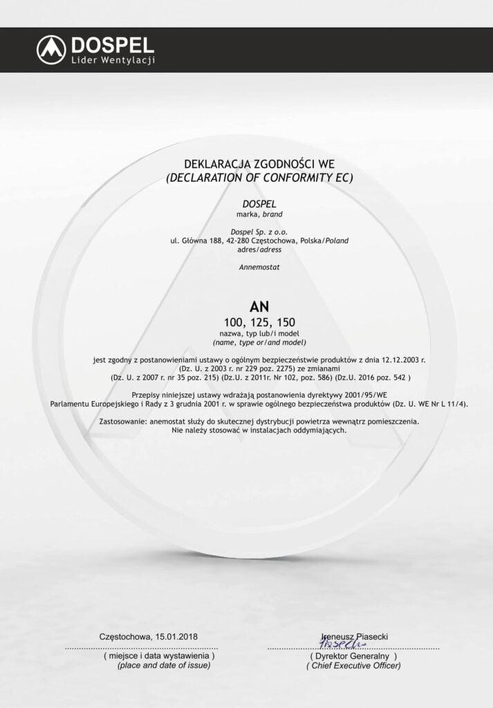 Anemostat, certyfikat, deklaracja zgodności, producent wentylacji, Dospel