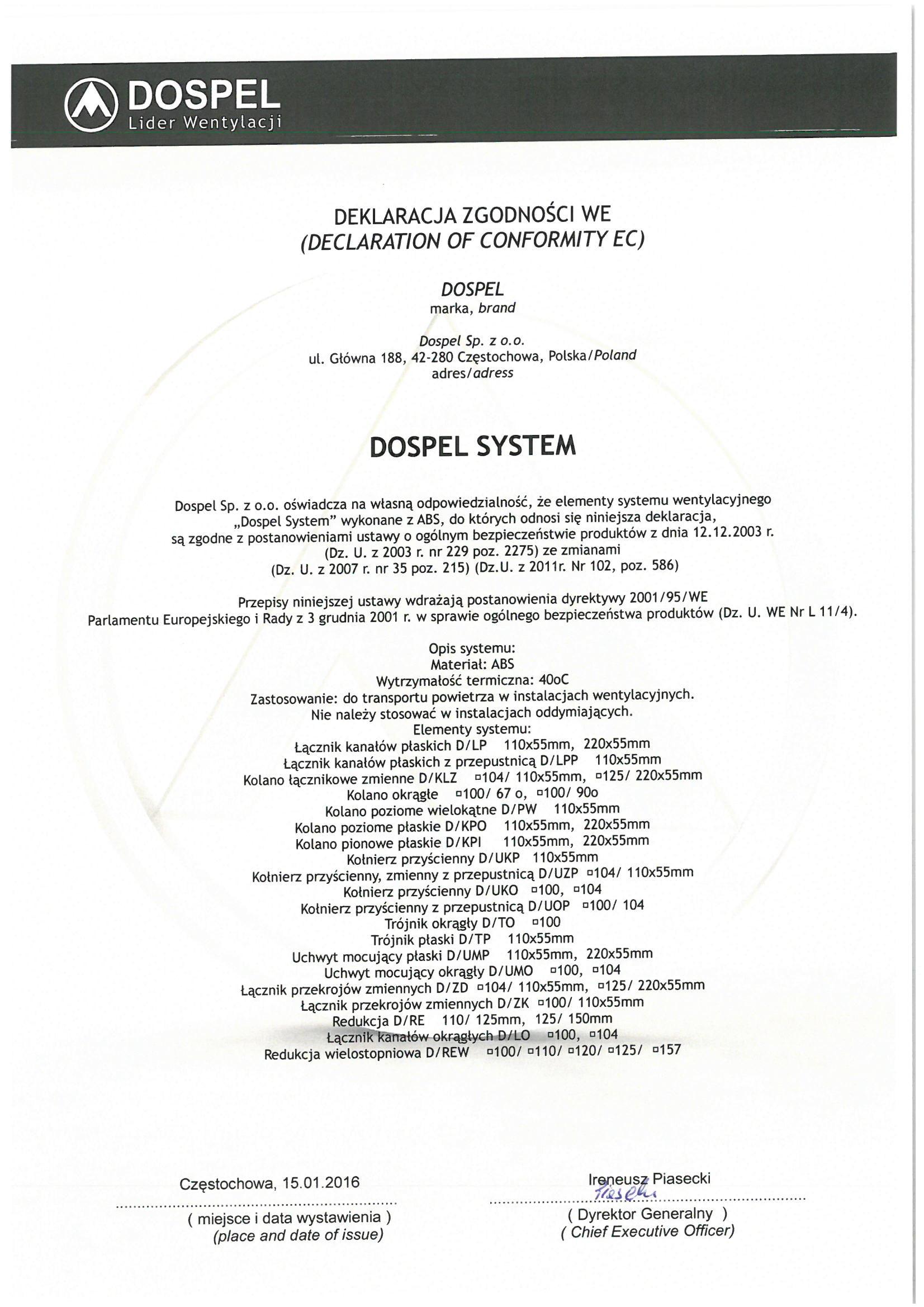 Dospel system, przewody wentylacyjne, Black White, certyfikat, deklaracja zgodności, producent wentylatorów, Dospel