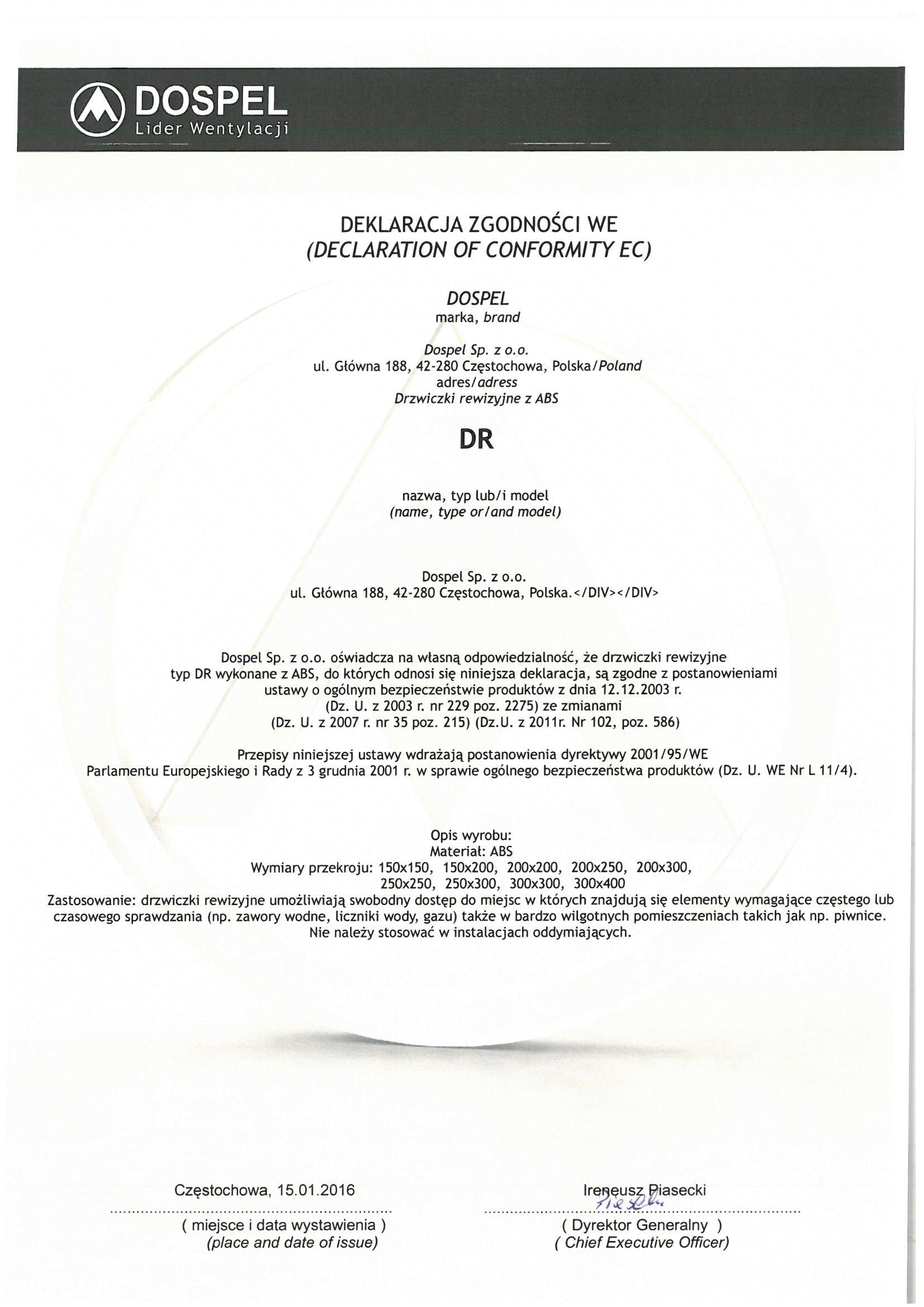Drzwiczki rewizyjne, DR, certyfikat, deklaracja zgodności, producent wentylatorów, Dospel