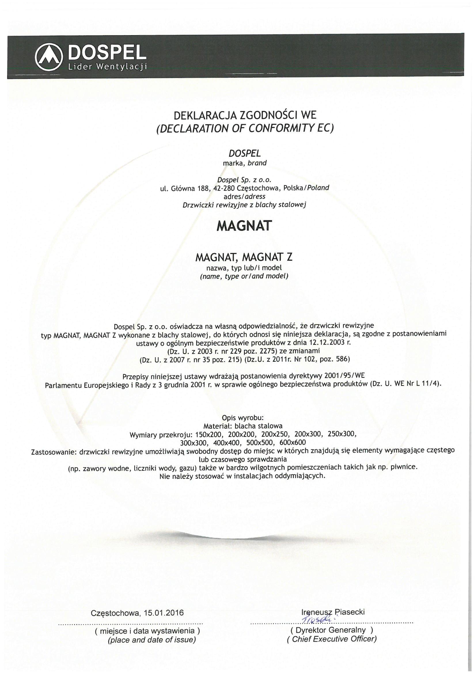Drzwiczki rewizyjne, Magnat, certyfikat, deklaracja zgodności, producent wentylatorów, Dospel