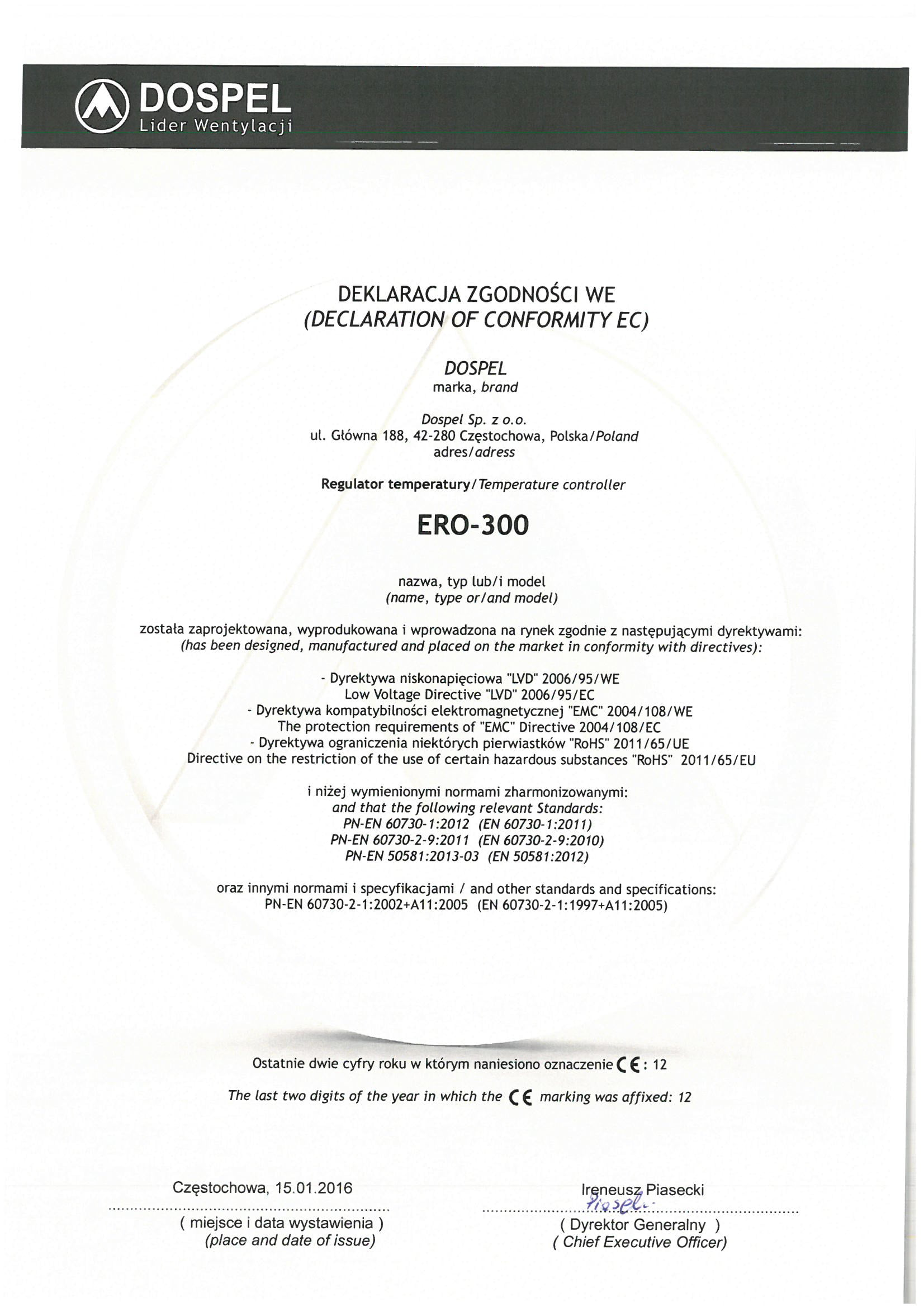 Regulator temperatury, ero-300, certyfikat, deklaracja zgodności, producent wentylatorów, Dospel