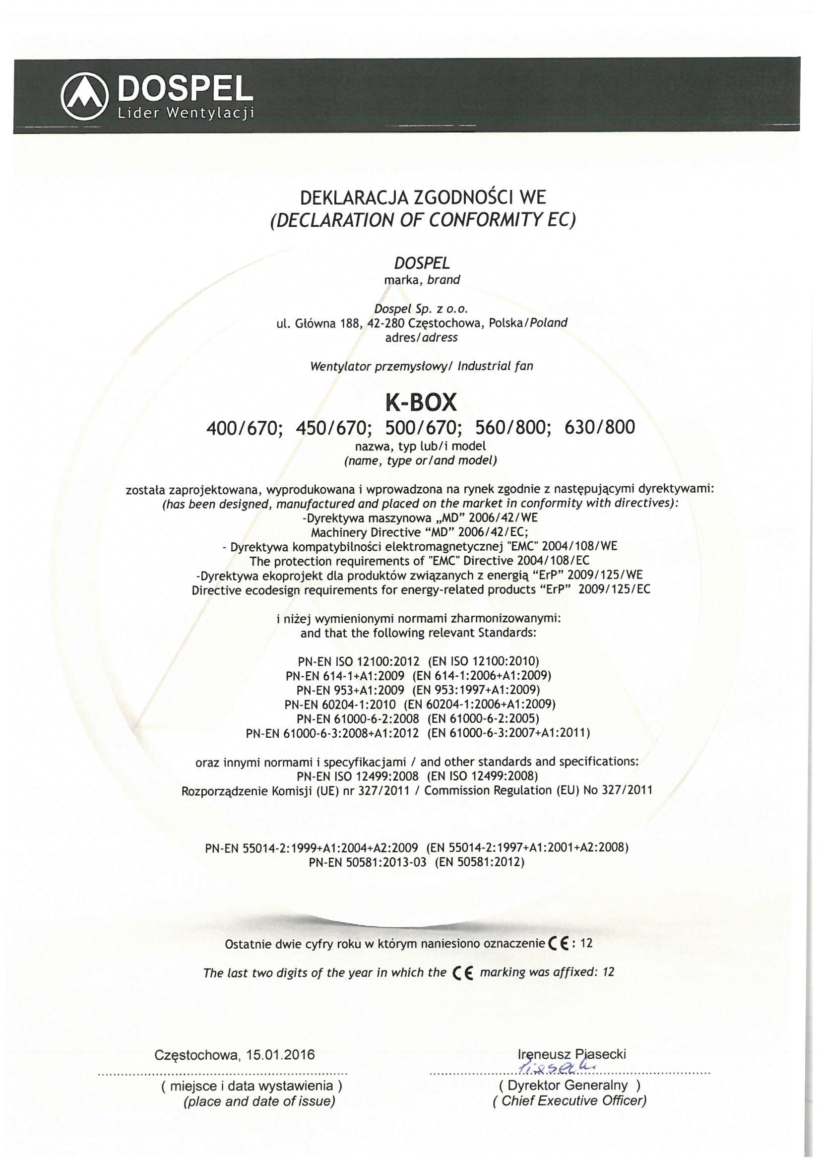 Wentylator kanałowy, K-BOX, certyfikat, deklaracja zgodności, producent wentylatorów, Dospel