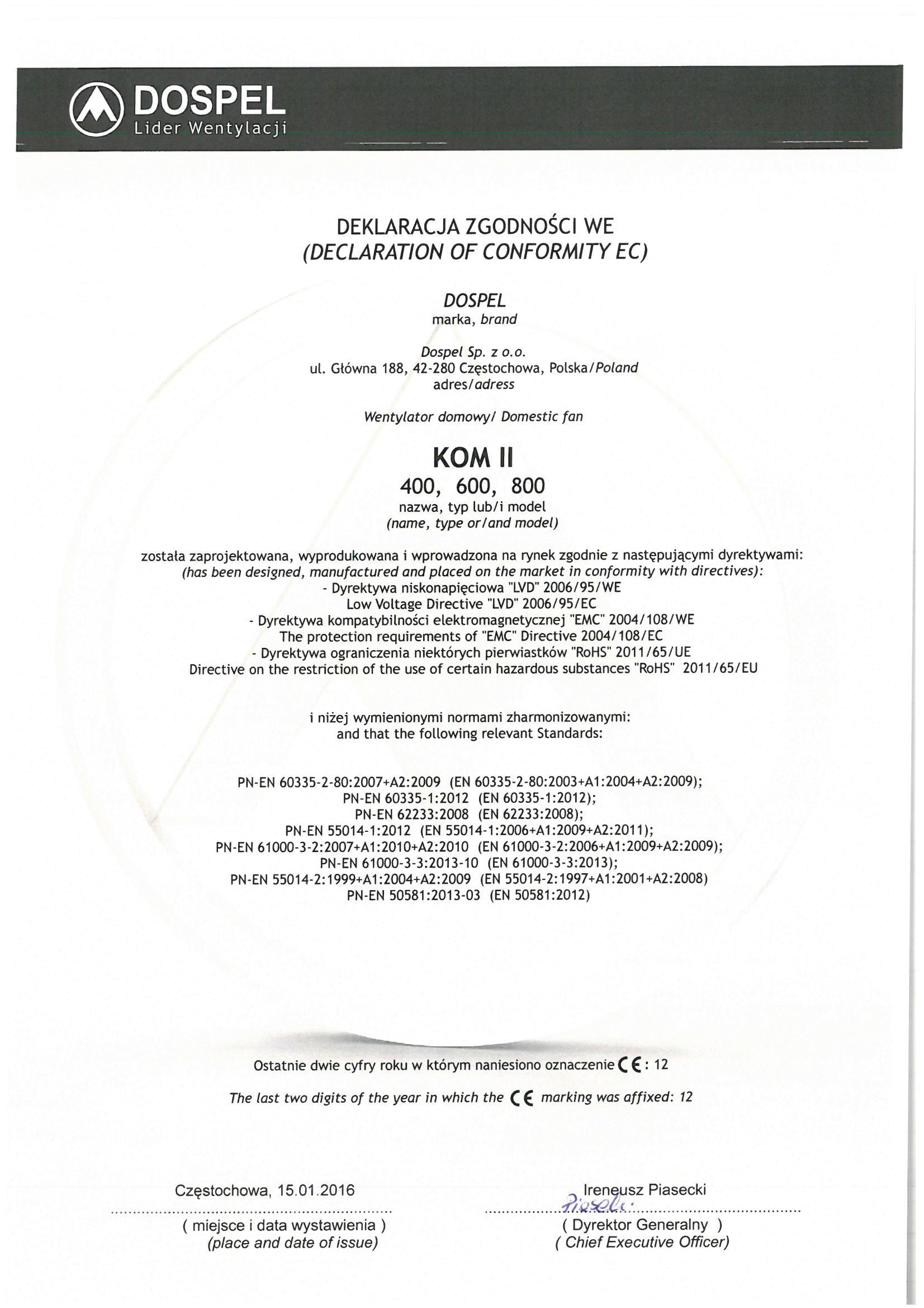 Wentylatory przemysłowe kominowe, KOM II, certyfikat, deklaracja zgodności, producent wentylatorów, Dospel