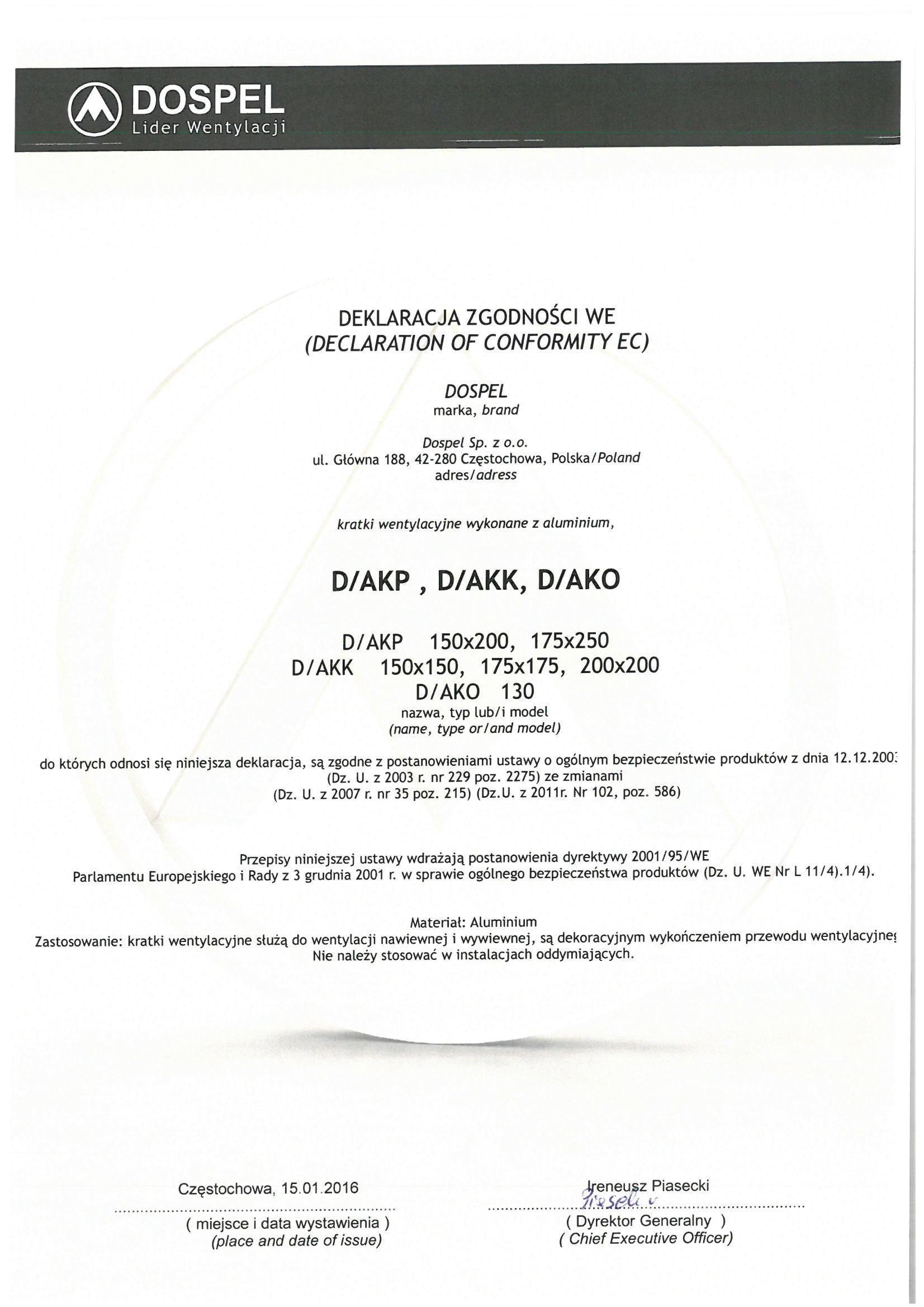 Kratki wentylacyjne aluminiowe D/AKP D/AKK D/AKO, certyfikat, deklaracja zgodności, producent wentylatorów, Dospel