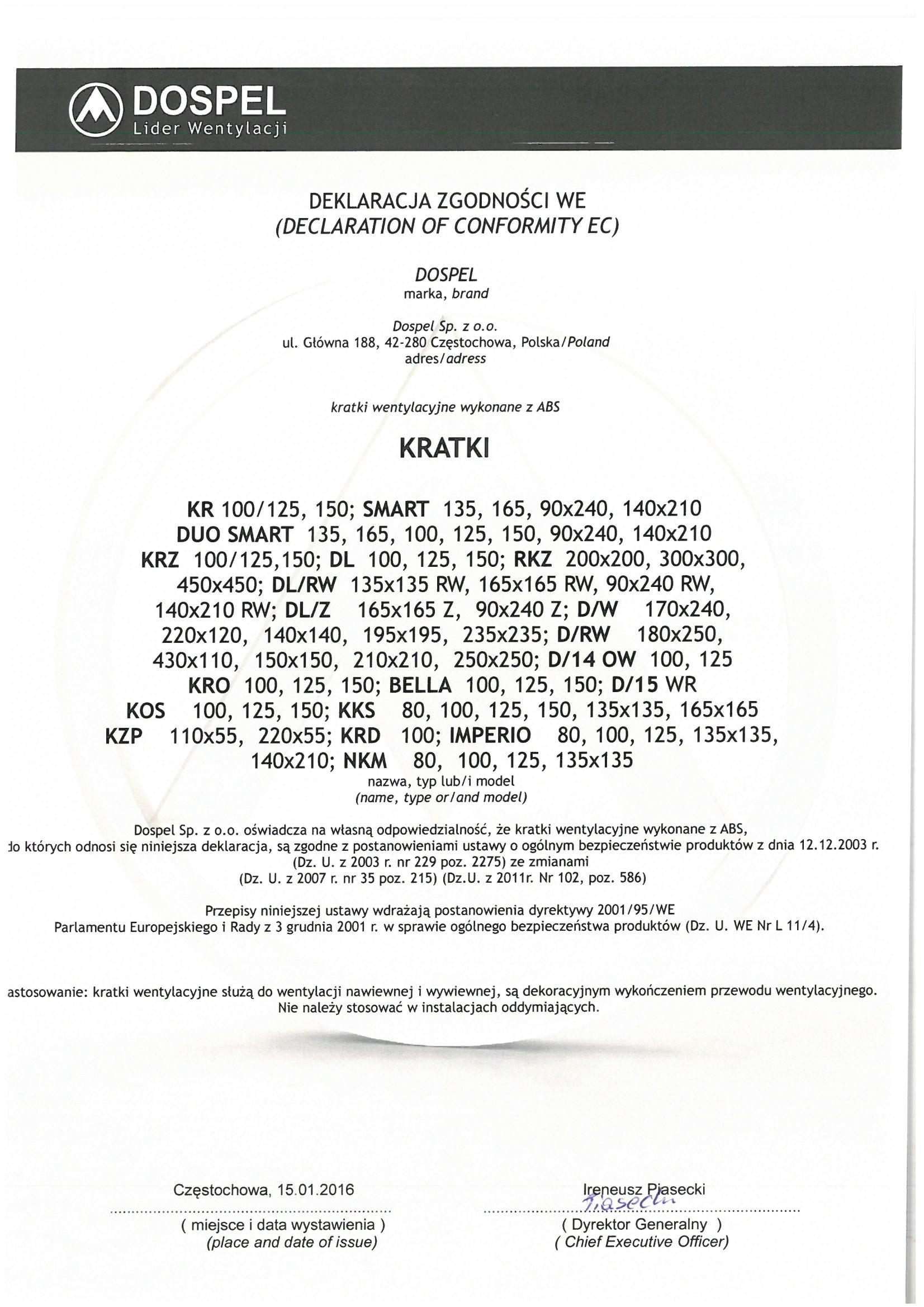 Kratka wentylacyjna certyfikat, deklaracja zgodności, producent wentylatorów, Dospel
