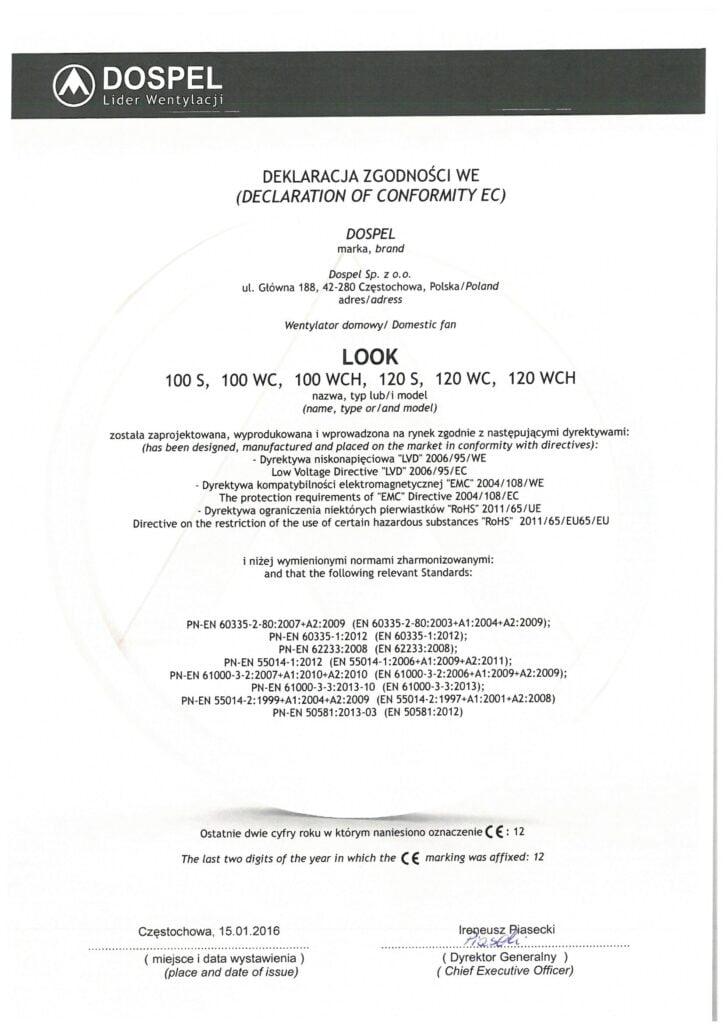 Wentylatory domowe ścienne, LOOK, certyfikat, deklaracja zgodności, producent wentylatorów, Dospel
