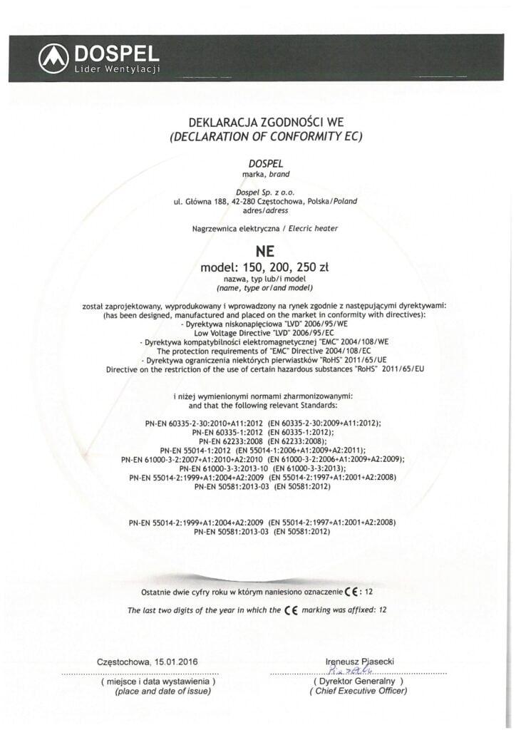 Nagrzewnica elektryczna, NE, certyfikat, deklaracja zgodności, producent wentylatorów, Dospel