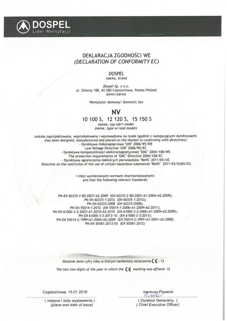 Wentylatory kanałowe, sufitowe, NV, certyfikat, deklaracja zgodności, producent wentylatorów, Dospel