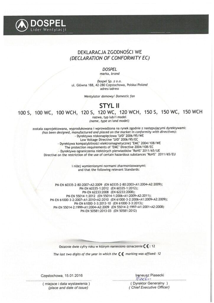 Wentylator domowy, STYL II, certyfikat, deklaracja zgodności, producent wentylatorów, Dospel
