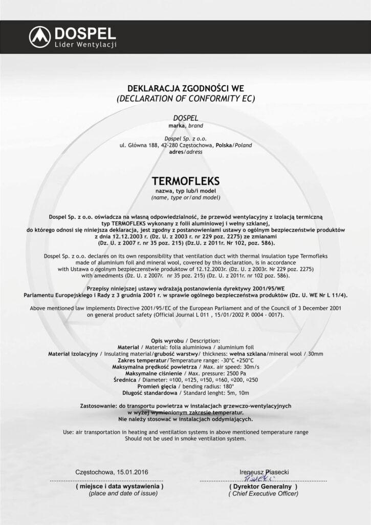Przewody wentylacyjne, Termofleks, certyfikat, deklaracja zgodności, producent wentylatorów, Dospel