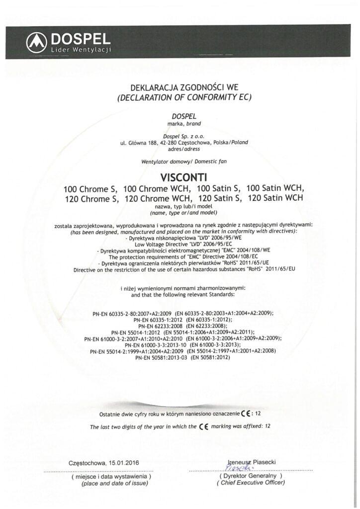 Wentylator domowy, VISCONTI, certyfikat, deklaracja zgodności, producent wentylatorów, Dospel