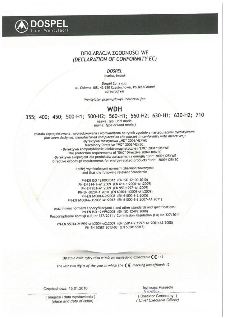 Wentylator dachowy, WDH, certyfikat, deklaracja zgodności, producent wentylatorów, Dospel
