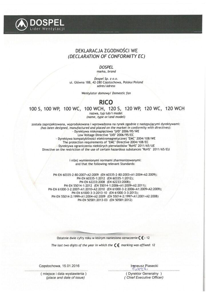 Wentylator domowy, RICO, certyfikat, deklaracja zgodności, producent wentylatorów, Dospel