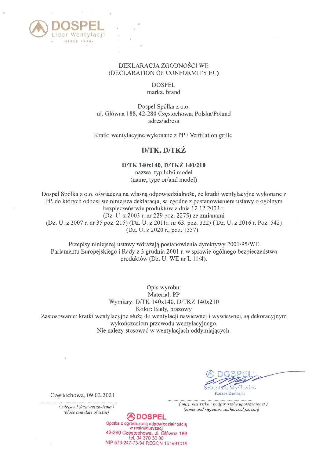Kratka wentylacyjna DTK DTKZ, certyfikat, deklaracja zgodności, producent wentylatorów, Dospel