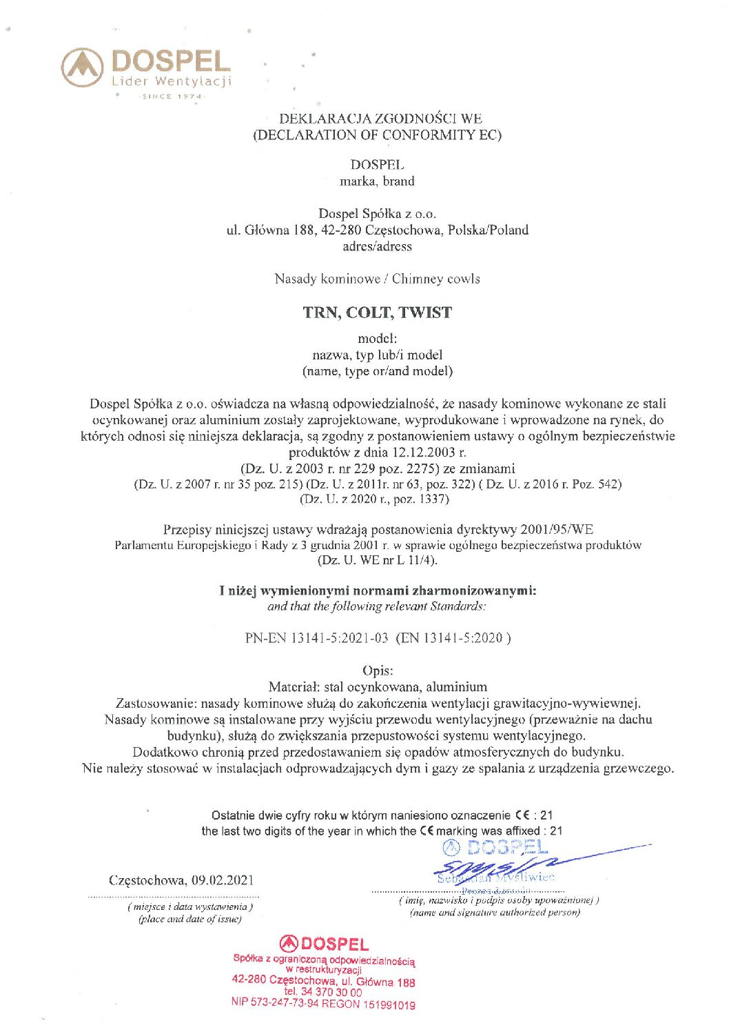 Nasady kominowe, TRN, COLT, TWIST, ertyfikat, deklaracja zgodności, producent nasad kominowych, Dospel